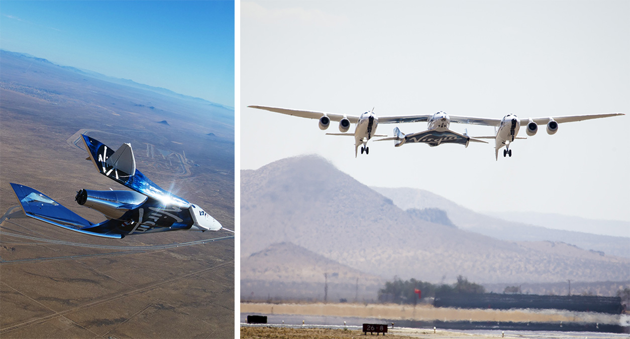 Virgin Galactic's Space Ship Unity is carried aloft by a plane, then detaches and fires up its rockets for a near-vertical climb to the edge of space.