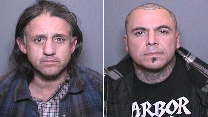 Two men were arrested for breaking into a vehicle and stealing a wheelchair.