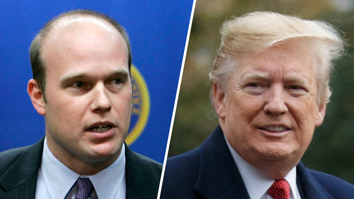 Acting Attorney General Matthew Whitaker, left; President Donald Trump, right.